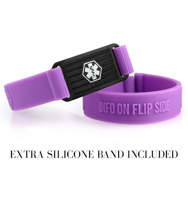 Two 1/2 inch wide purple silicone band bracelets. One has a black stainless Medical ID tag with red caduceus attached to it.