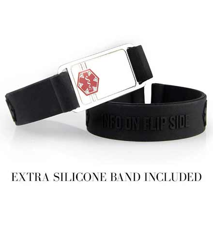 Black silicone bands attach to stainless steel medical ID tag with a red medical symbol.