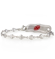Medical alert chain with tiny heart links and decorative medical alert tag