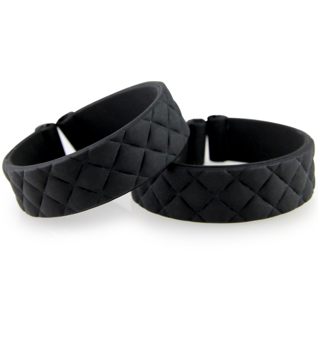 Set of 2 black quilt patterned silicone bands which can be used with the ActiveWear medical alert tag.