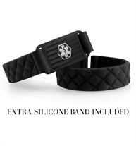 """1/2"""" black quilted silicone band. 1-3/8"""" x 3/4"""" black patterned stainless Med ID tag with white caduceus. Extra silicone band"""