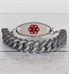 Silver silicone Medical ID Bracelet with red medical ID symbol with silver lobster clasps on shiplap