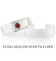 White silicone ActiveWear med ID bands with silver tag and extra replacement band