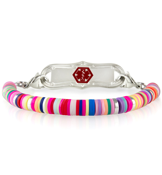 Medical ID bracelet for little girls that has multicolored disc beads