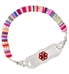 Overhead view of cute colorful medical ID bracelet for girls