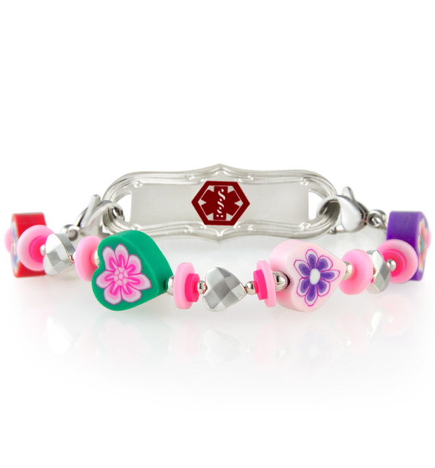 Cute girls medical ID bracelet with colorful flower beads and decorative medical ID tag