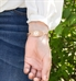 rose gold tone medical ID tag attached to rhythm and blues bracelet show no wrist