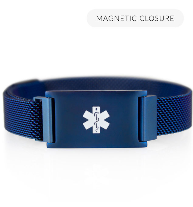 Front of blue-tone stainless Urban Medical Alert with mesh chain, magnetic closure, affixed ID tag with white caduceus