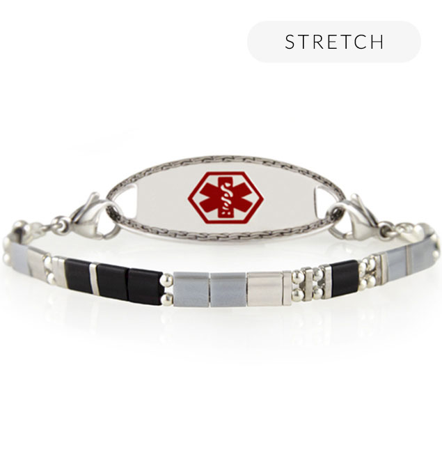 Silver stretch medical ID bracelet with flat beads and interchangeable lobster clasps