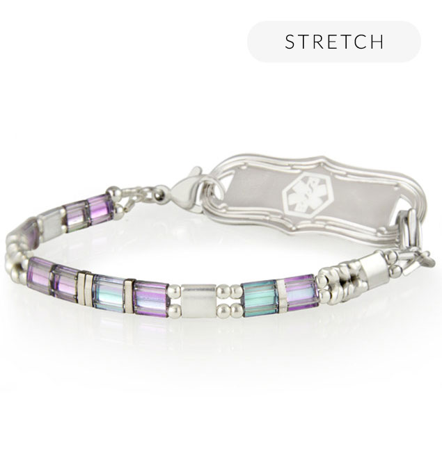 Side view of silver and pastel beaded medical ID bracelet