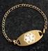 Gold medical alert bracelet with gold oval medical alert tag on slate background