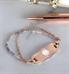 Rose gold medical alert bracelet with lavender beads
