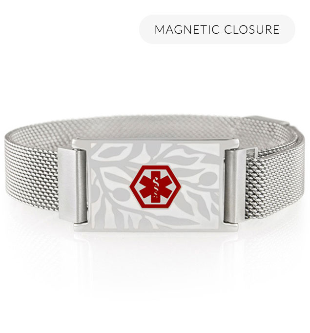 Front of silver-tone stainless Urban Medical Alert bracelet with mesh chain, magnetic closure, floral design