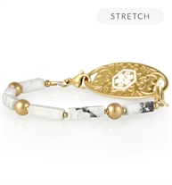 Side view of beaded medical ID bracelet with gold and marble howlite beads