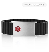 Low front angle of black silicone, magnetic band with a silver tag and red caduceus symbol.