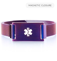 Front of plum plated stainless Urban Medical Alert bracelet with mesh chain, magnetic closure, affixed ID tag with white caduceus.