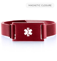 Front of crimson red stainless Urban Medical Alert bracelet with mesh chain, magnetic closure, affixed ID tag with white caduceus.
