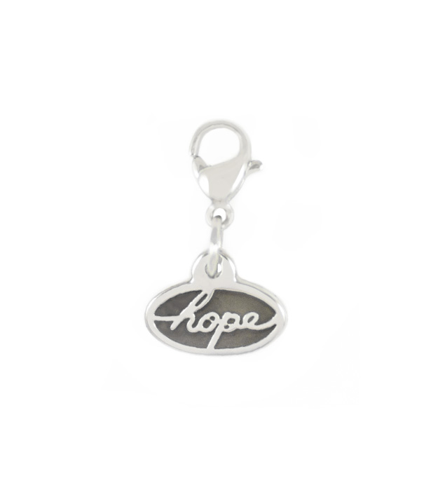Stainless steel oval charm that says hope attaches with a lobster clasp to bracelets or necklaces.