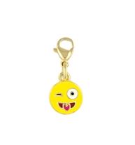 Bracelet charm with yellow winking emoji face