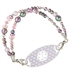 Medical alert bracelet hand-stranded with pink and lavender beads and pearls