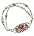 Silver crystal and pearl medical alert bracelet with two strands of beads and gardenia medical alert tag
