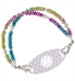 Top view of medical ID bracelet with color blocked beads in blue, pink, yellow, green and more