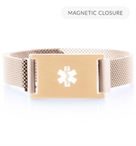 Front of brushed sandstone plated Urban Medical Alert bracelet with mesh chain, magnetic closure, affixed ID tag with white caduceus.