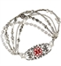 Beaded medical ID bracelet with gray and silver tone beads and decorative medical alert tag