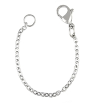 Stainless steel linked chain with a lobster clasp that extends the length of a necklace