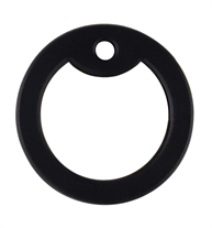 Black silicone piece that fits around the outer border of an aluminum dog tag for comfort.