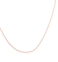 The Rose Gold Ball Chain Replacement Necklace is 23 inches long and is a rose tone plated stainless steel ball chain