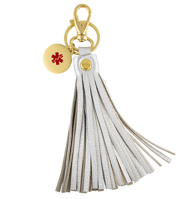 Jade Med ID Purse Tassel. 6-inch 2-tone metallic silver leather tassel with gold tone stainless lobster clasp, keyring, charm