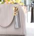 Jade Med ID Purse Tassel on purse. 2-tone metallic silver leather tassel, gold tone stainless lobster clasp, keyring, charm