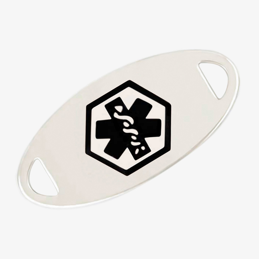 Silver stainless steel oval medical alert tag with black medical caduceus symbol