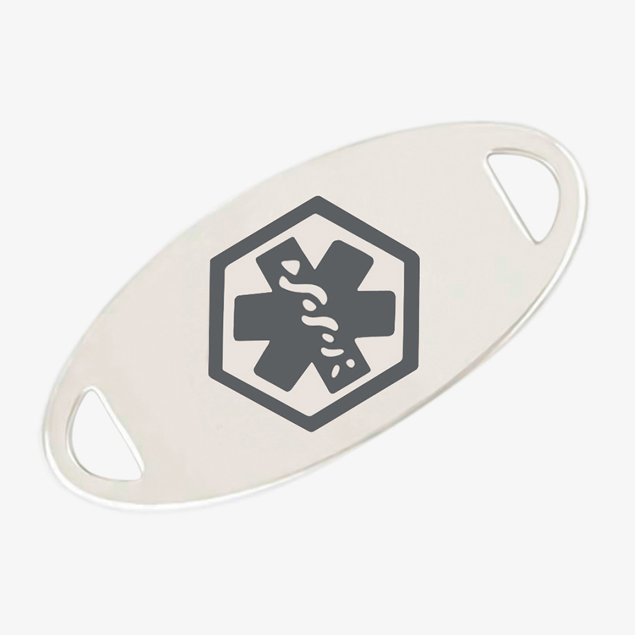 Oval stainless steel silver tone medical ID tag with charcoal grey symbol in center