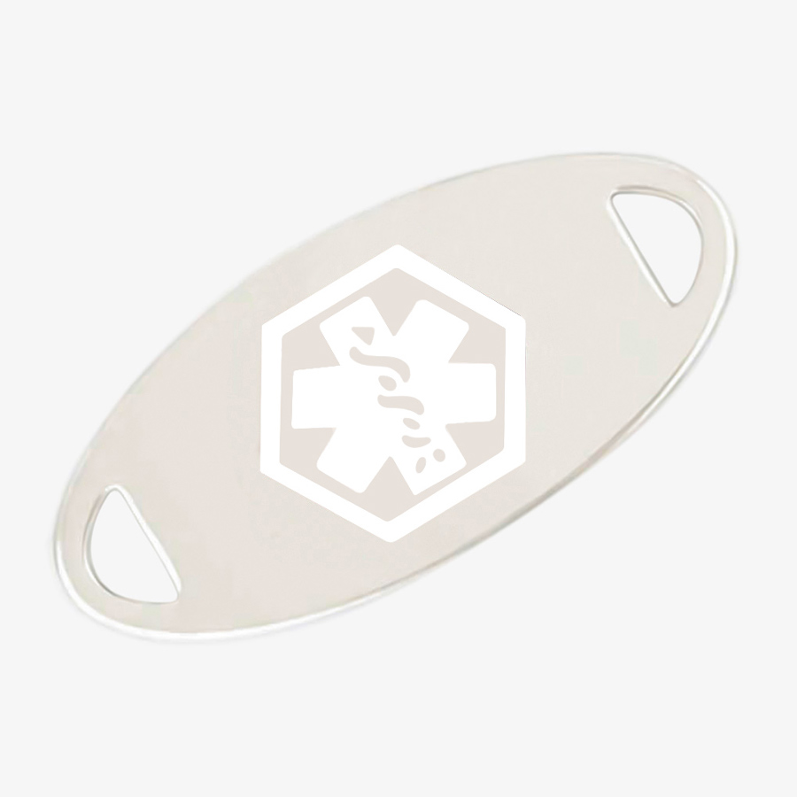 Stainless steel medical ID tag with white medical symbol.