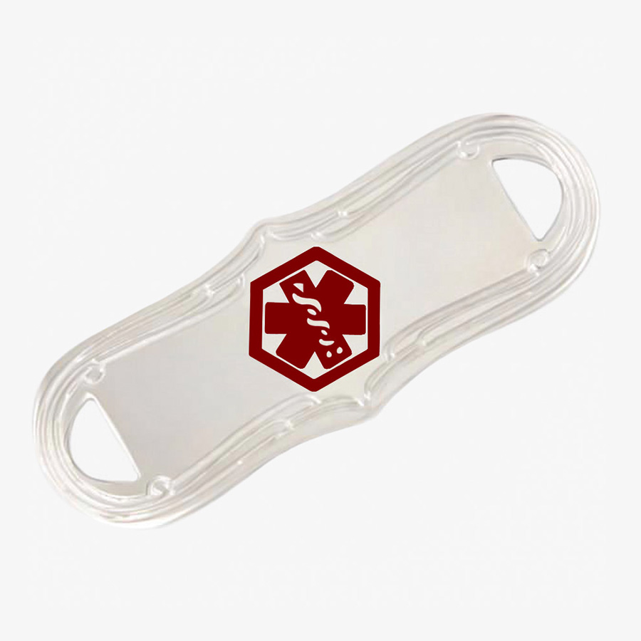 Stainless steel ID tag with a decorative border with red medical symbol