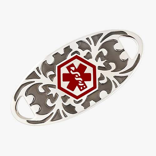 Stainless steel tag with gray floral gardenia pattern with a red medical symbol