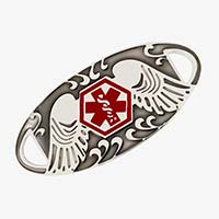 Silver tone tag with patina in the recessed area features angel wings and red medical alert icon.