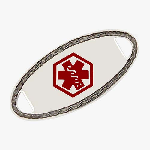 Silver tone stainless steel medical alert tag with red medical symbol and rope styling around the border
