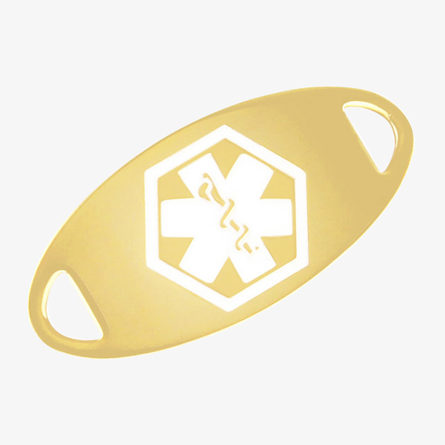 Gold tone medical ID tag with a white medical symbol.