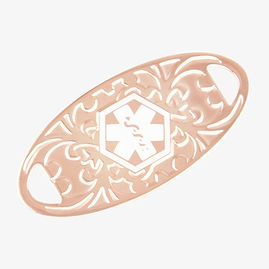 Rose gold tone stainless steel medical ID tag with a gardenia floral pattern in rose gold.