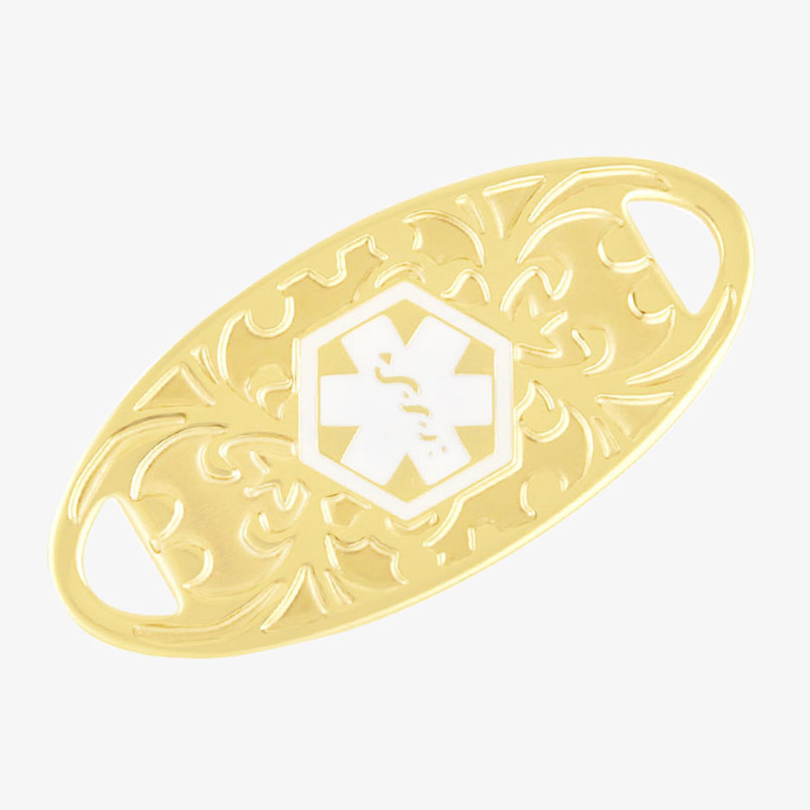 Medical alert tag with decorative gardenia inlay in gold tone