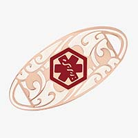 Rose gold tone oval medical alert tag with scrolling filigree pattern and red medical caduceus symbol