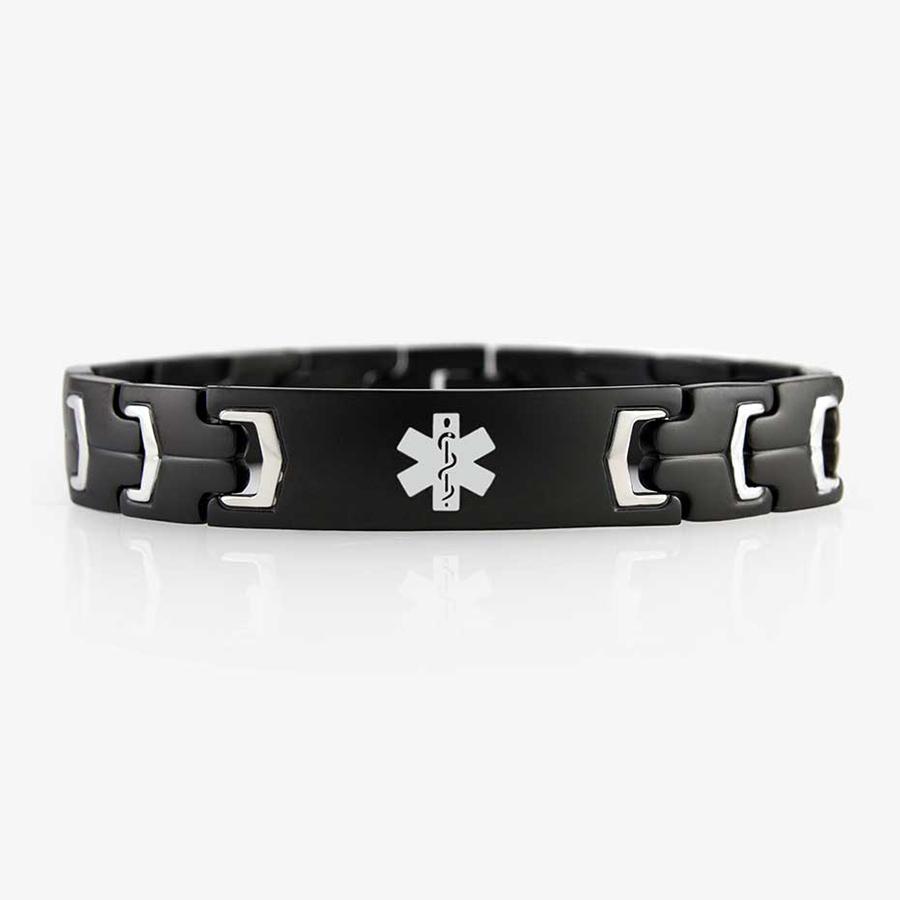 Black stainless steel linked bracelet with white medical symbol