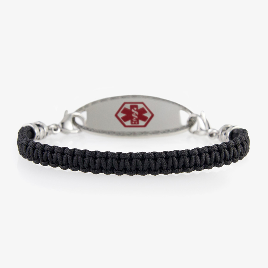 Woven black macrame band with silver clasps and matching silver tone medical alert tag with red symbol