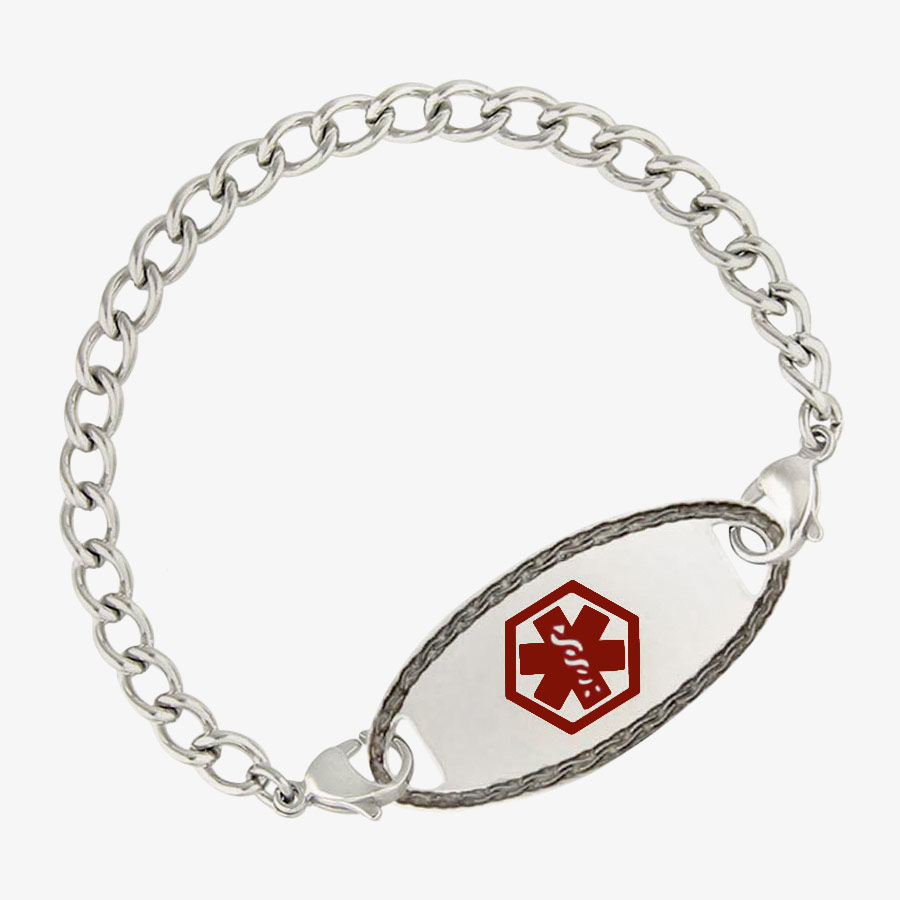 Small stainless steel curb chain with uniform links and a matching silver med alert tag with red symbol