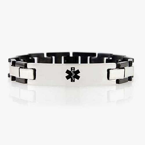 Black and stainless steel links attached to a stainless steel plate with a black medical symbol.