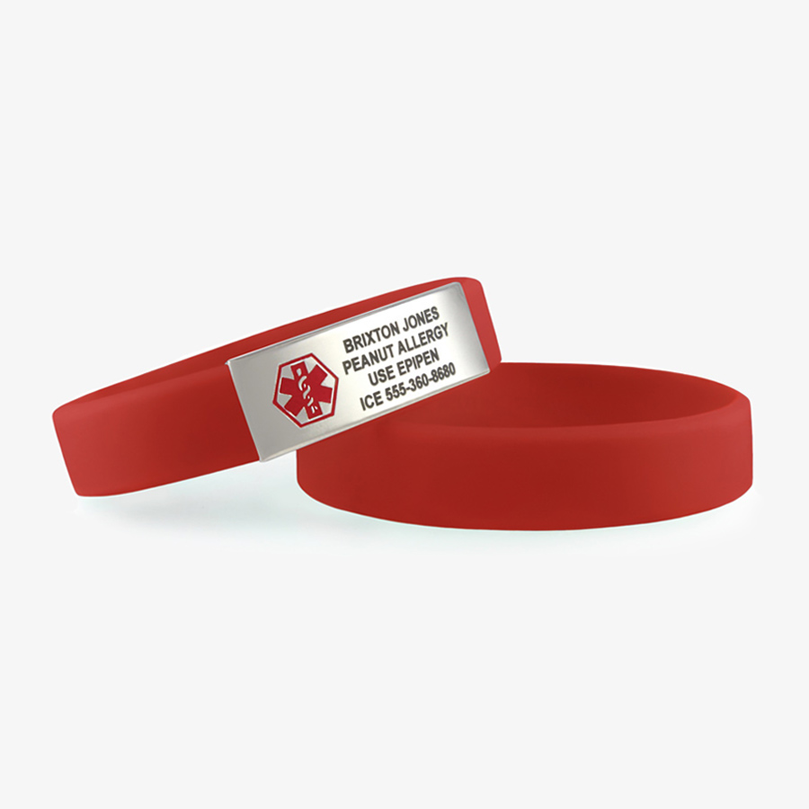 Stacked pair of red activewear slim bracelets with silver medical alert tag with red symbol