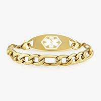 Gold chain medical alert bracelet with gold and white medical ID tag